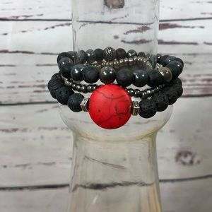 Jewelry - Red Jasper Hematite Lava Stone Stacked Bracelets